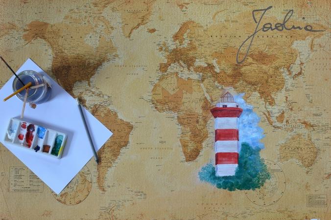 malowanie latarni morskiej na mapie
